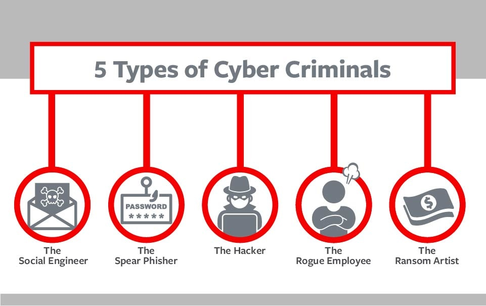 5 Types of cyber criminals chart