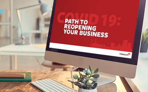 computer screen with webinar name, path to reopening your business