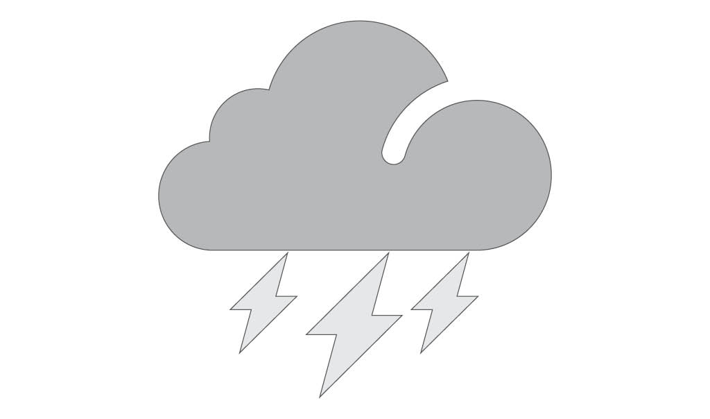 grey icon with cloud and lightening bolts