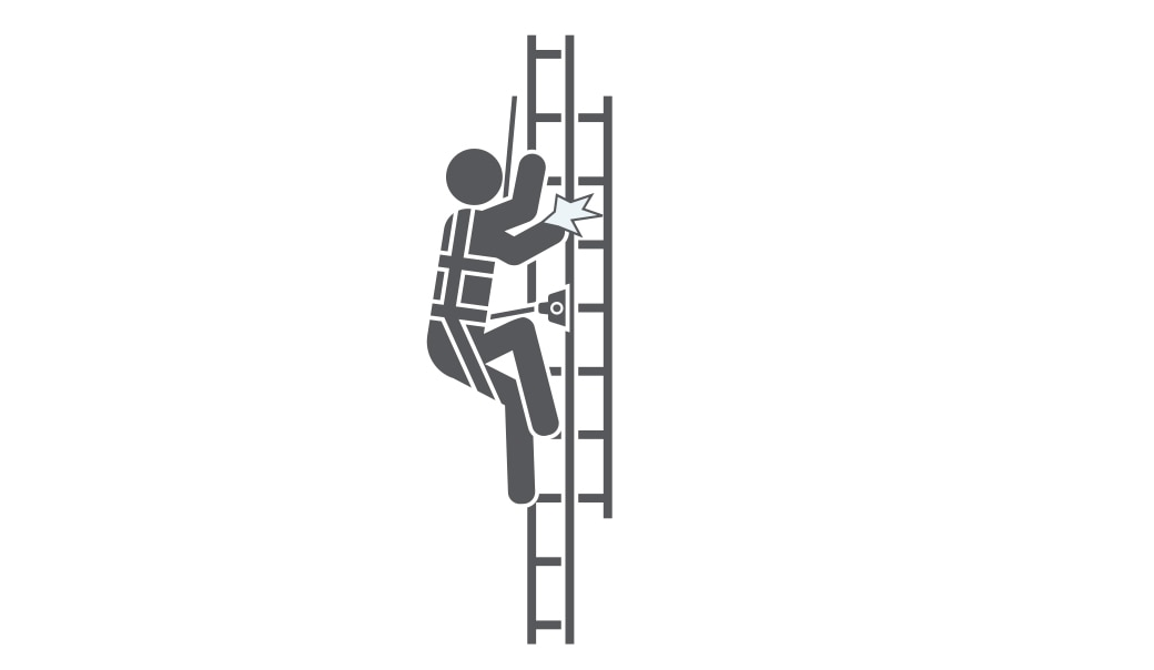 figure in harness on ladder