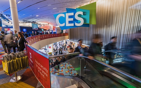 People walking through CES 2020 conventional hall