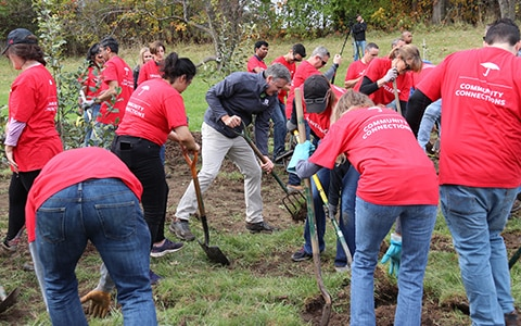 Travelers employees with shovels to plant trees, Go Paperless for a Purpose