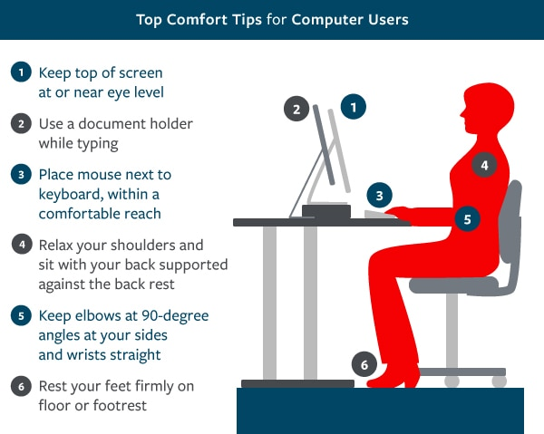 Areas to be careful when sitting at your workstation