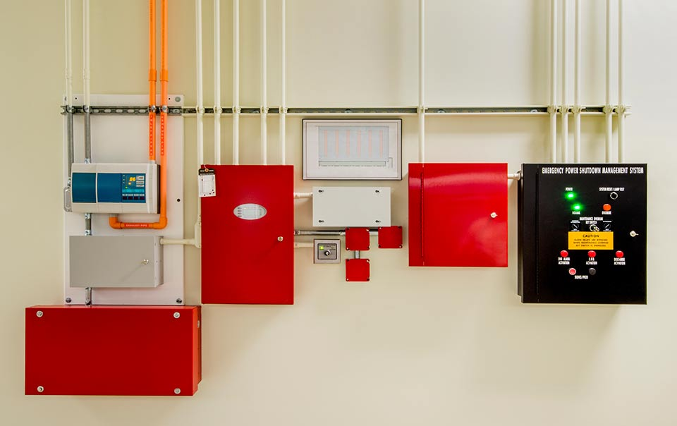 A fire detection system on a wall