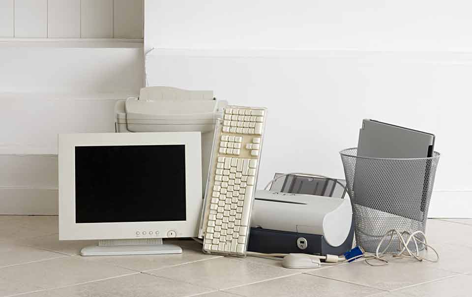 Pile of old computers can be considered e-waste