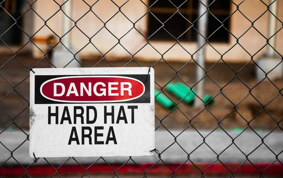 A hard hat area sign to help protect a construction site