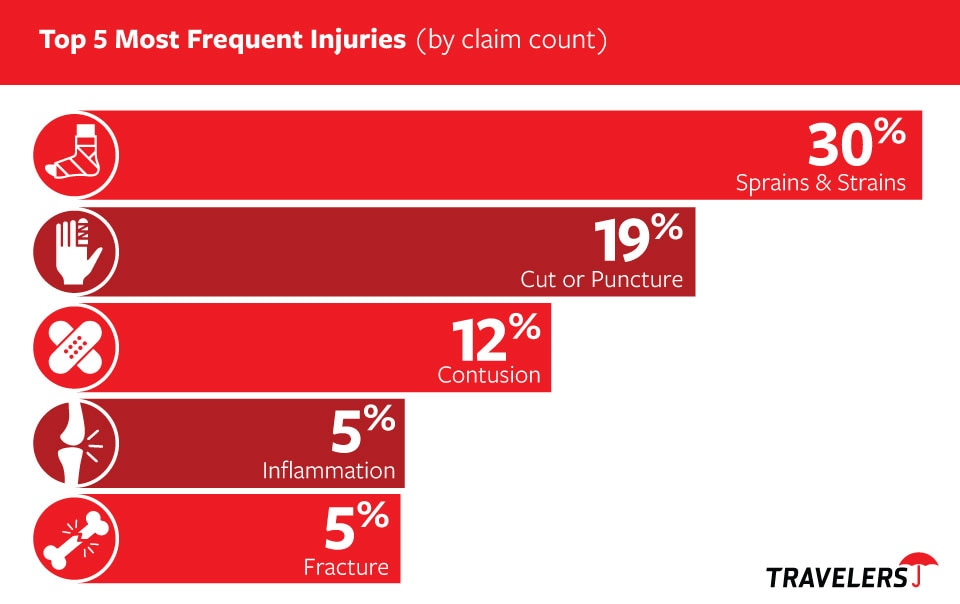 Chart of Top 5 Most Frequent Injuries, by claim count