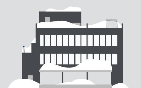 illustration of snow on a commercial building