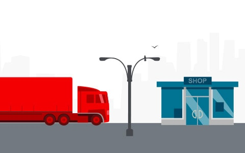 Illustration of truck part of supply chain driving to store