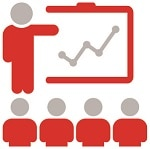 icon showing a figure pointing to a presentation with 4 other figures looking at the presentation, Onboarding Employees