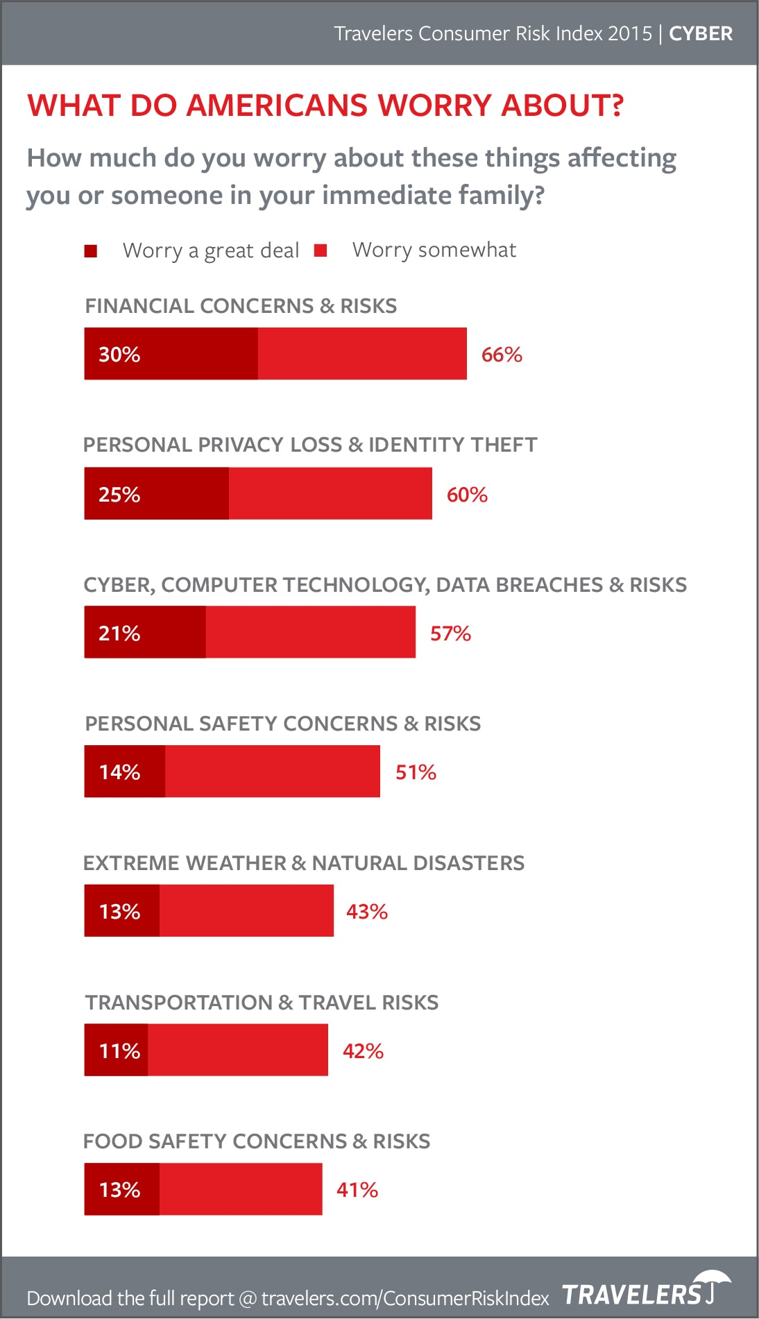 Chart of what Americans worry about from 2015 Consumer Risk Index