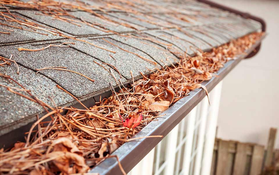 Gutters filled with leaves in the fall