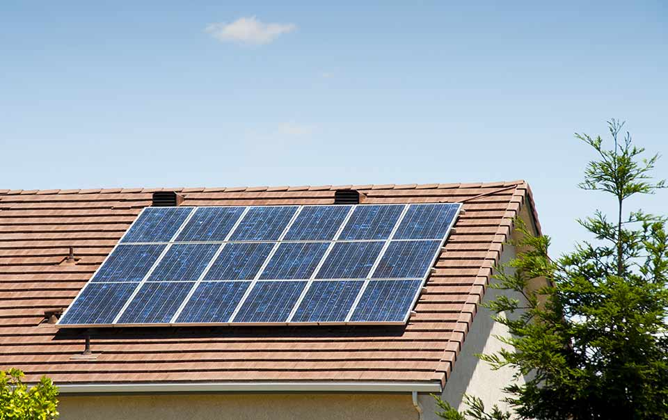 solar panel installed on to roof of a home
