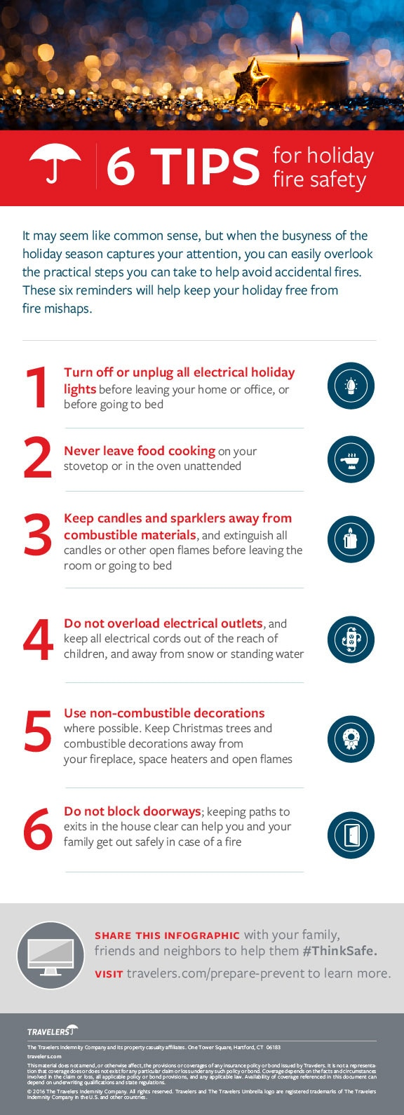 Holiday fire safety tips infographic
