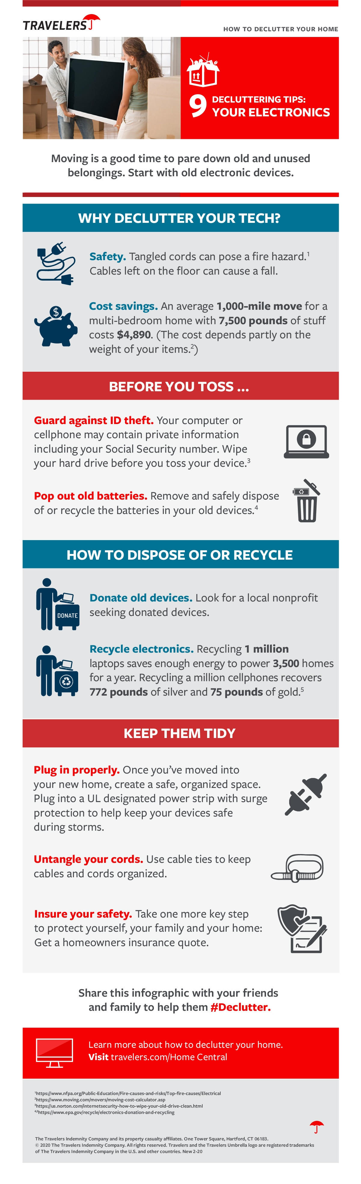inforgraphic for 9 tips on how to declutter your electronics