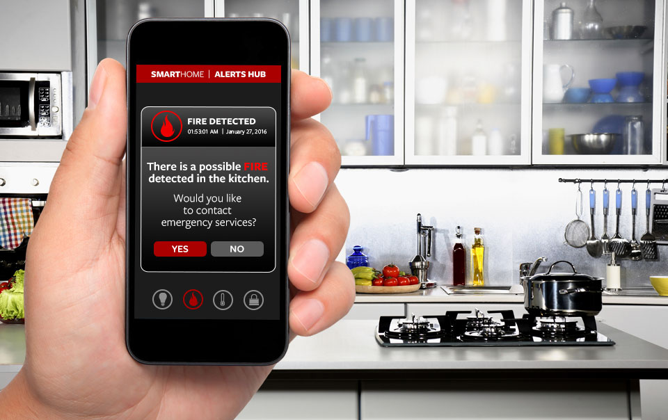 Fire Detection alert on smart home app