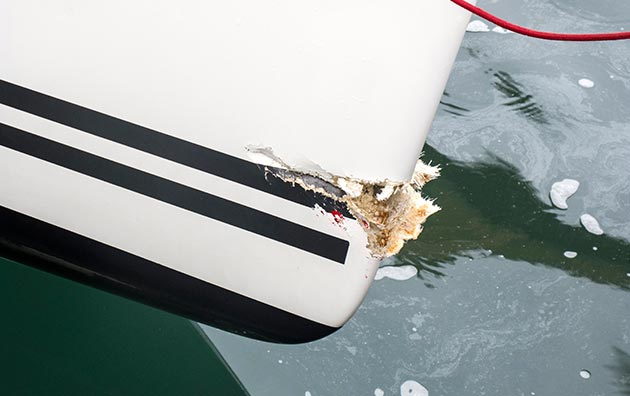 Close-up of damage on a boat