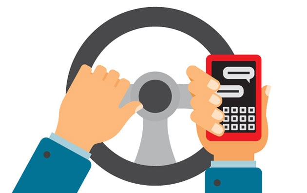 Illustrated person checking phone behind the wheel of a car