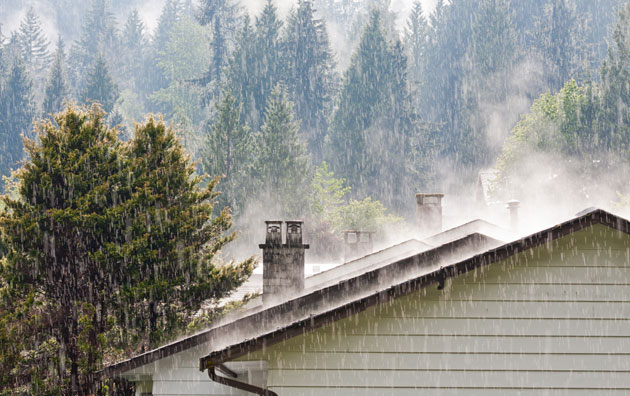 rain falling on roof of house