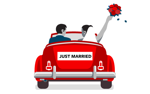 Illustration of married couple in car
