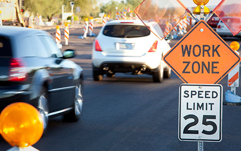 Work zone area on the road