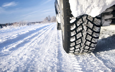 Close up of tire treads on snowy road