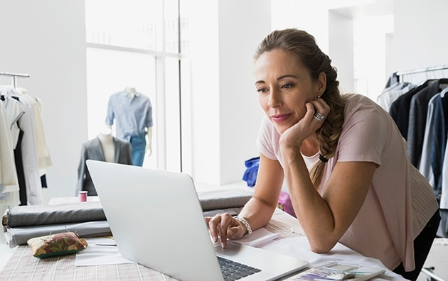 small business owner looking up insurance