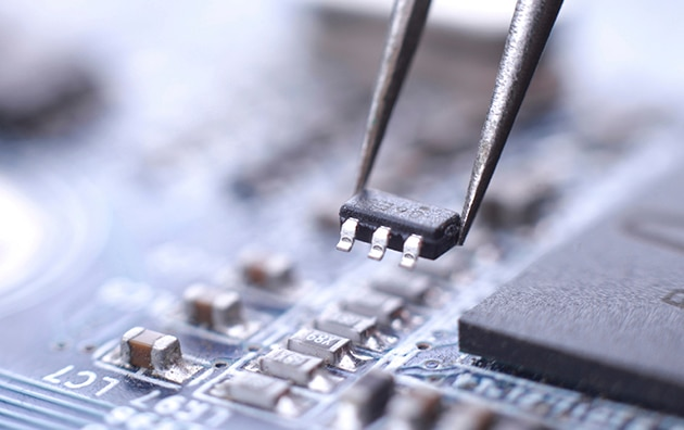 Closeup of technology microchip