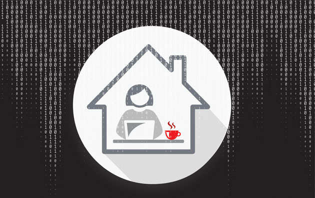 graphic of a woman on laptop within a house shape