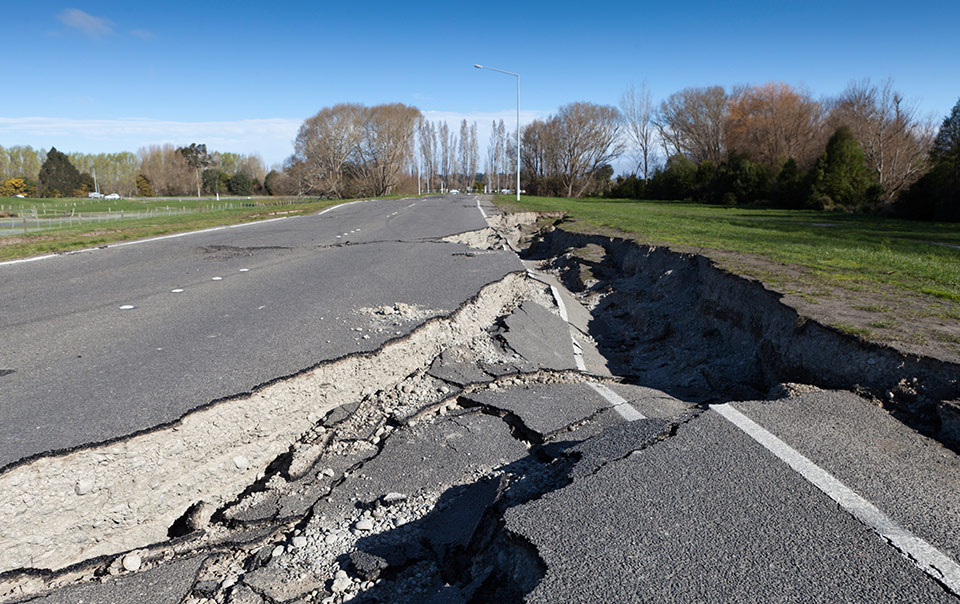 A big crack in the road caused by an earthquake