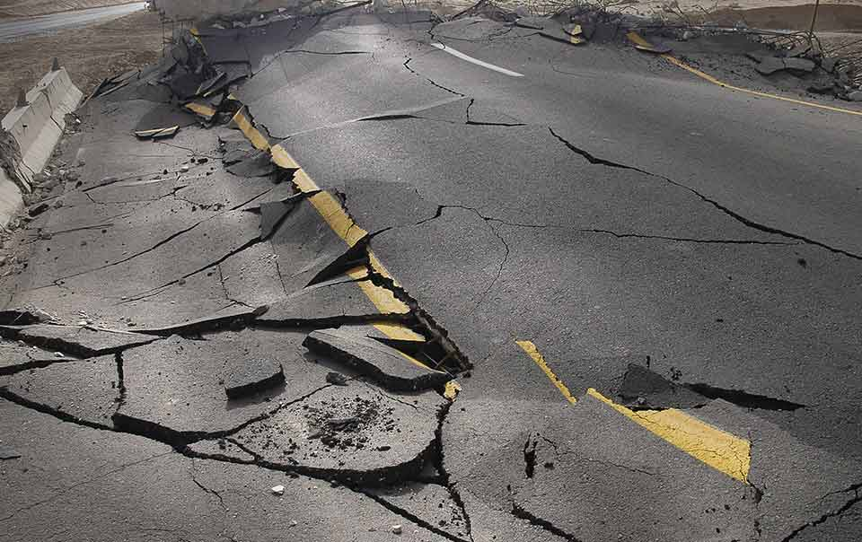Broken road due to an earthquake