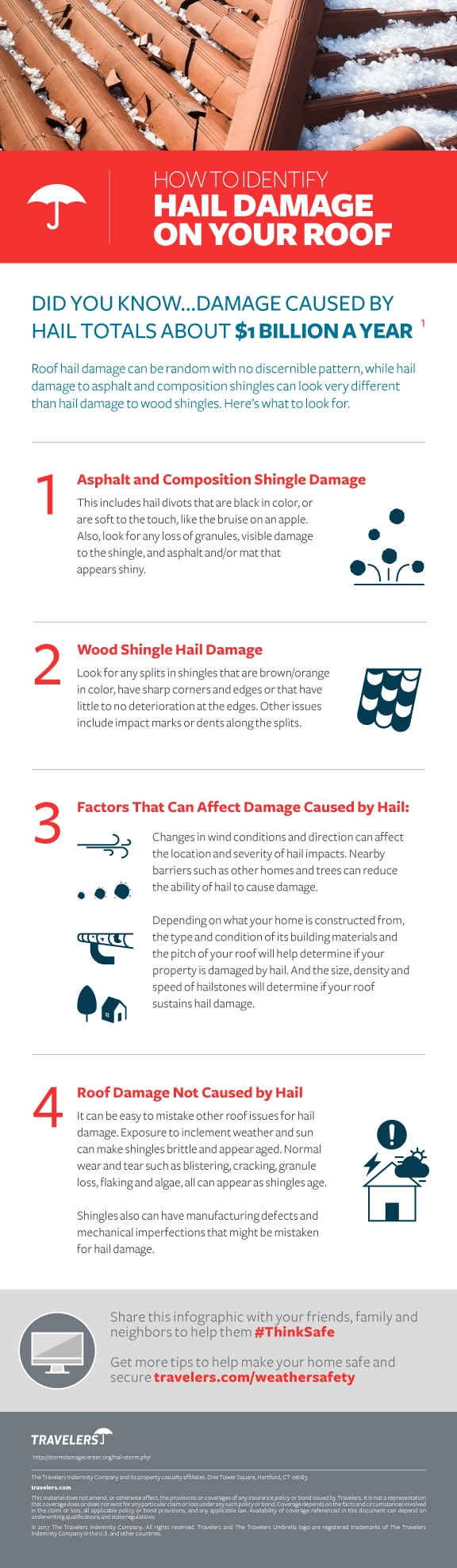 Identifying hail damage to your roof infographic