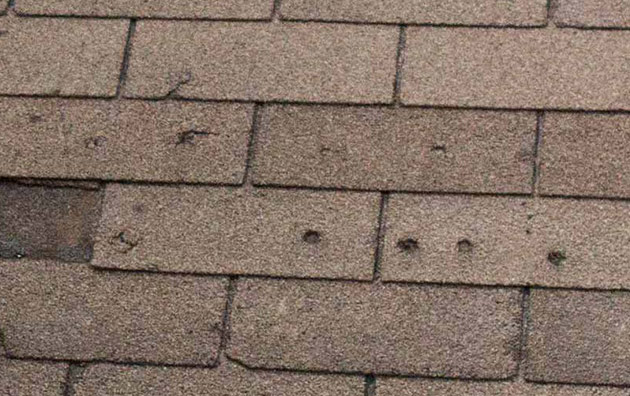 hail damage on a roof