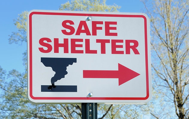 Seek shelter from tornado sign