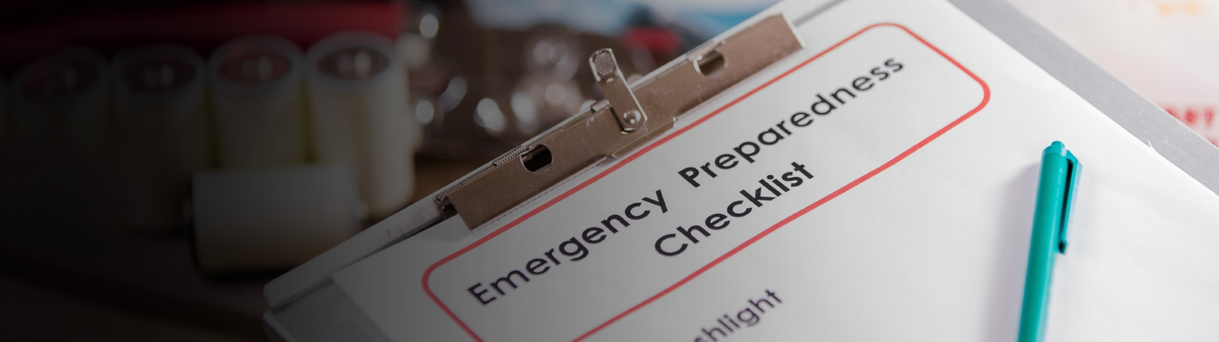 Disaster Preparedness Checklist on a clipboard