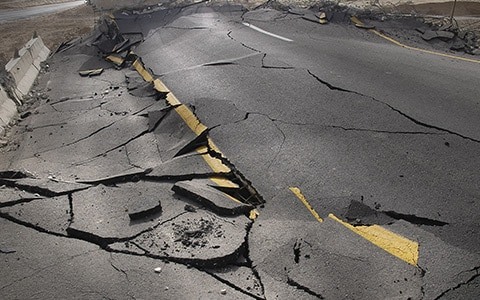 Road damage caused by an earthquake