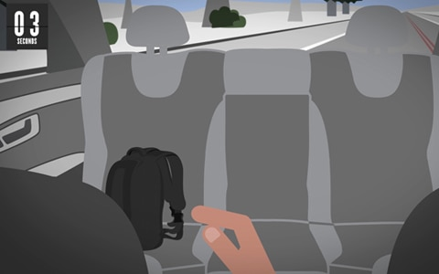 illustration of distracted driver reaching for backpack