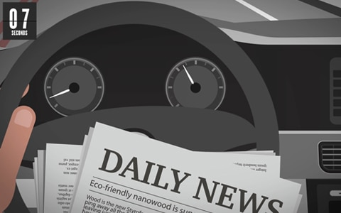 illustration of distracted driver reading a newspaper